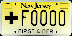 New Jersey First Aider Medical License Plate