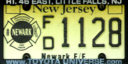 New Jersey Newark Firefighter License Plate