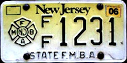 New Jersey Firefighter State FMBA License Plate