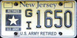 New Jersey US Army Retired License Plate