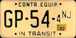 New Jersey Contr Contractor Equipment In Transit License Plate