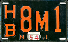 New Jersey License Plate 1954