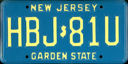 New Jersey License Plate 1991