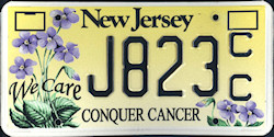 New Jersey Conquer Cancer License Plate