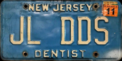 New Jersey Dentist DMD License Plate