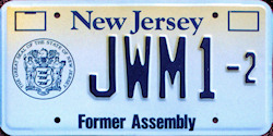 New Jersey Former Assembly License Plate