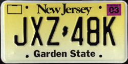 New Jersey License Plate 2001