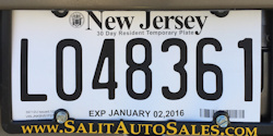 New Jersey Temoprary Tag License Plate