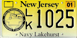 New Jersey Navy Lakehurst Naval Air Station License Plate