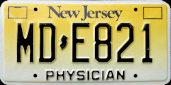 New Jersey Physician Doctor MD License Plate