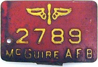 New Jersey License Plate Military McGuire Air Force Base