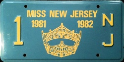 New Jersey License Plate Miss New Jersey Pageant