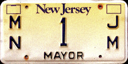 New Jersey Town City Mayor License Plate