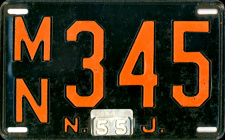 New Jersey License Plate 1955