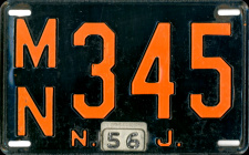 New Jersey License Plate 1956