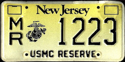 New Jersey Marine Corps Reserve License Plate