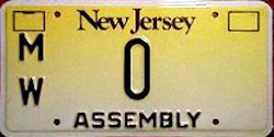 New Jersey Assembly License Plate