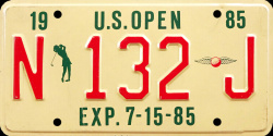 New Jersey License Plate US Womens Open Golf 1985