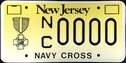 New Jersey Navy Cross License Plate