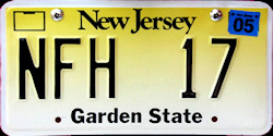 New Jersey No Fee Exempt License Plate