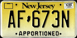 New Jersey Apportioned License Plate
