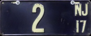 New Jersey License Plate 1917