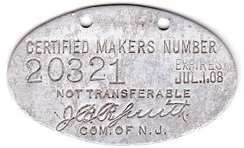 New Jersey License Plate Validation Registration Tab 1908