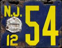 New Jersey License Plate 1912