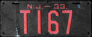 New Jersey Trailer License Plate 1933