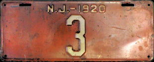 New Jersey License Plate 1920
