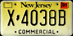 New Jersey Commercial Truck License Plate 2001
