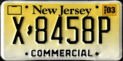 New Jersey Commercial Truck License Plate 2003