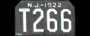 New Jersey Trailer License Plate 1922
