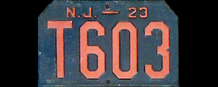 New Jersey Trailer License Plate 1923