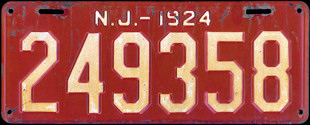 New Jersey License Plate 1924