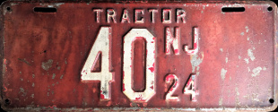 New Jersey Tractor License Plate 1924