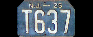 New Jersey Trailer License Plate 1925