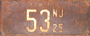 New Jersey Tractor License Plate 1925