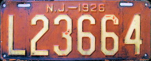 New Jersey License Plate 1926