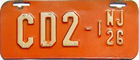 New Jersey Motorcycle Dealer License Plate 1926