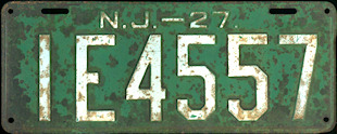 New Jersey License Plate 1927