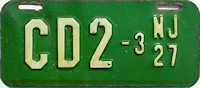 New Jersey Motorcycle Dealer License Plate 1927