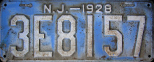 New Jersey License Plate 1928