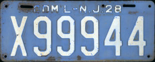 New Jersey Commercial Truck License Plate 1928