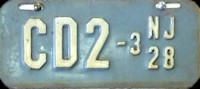 New Jersey Motorcycle Dealer License Plate 1928
