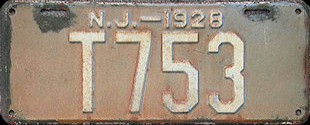 New Jersey Trailer License Plate 1928
