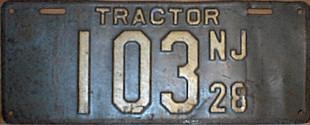 New Jersey Tractor License Plate 1928