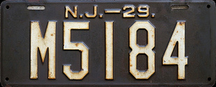 New Jersey License Plate 1929