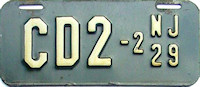 New Jersey Motorcycle Dealer License Plate 1929