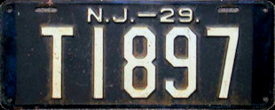 New Jersey Trailer License Plate 1929